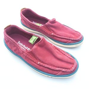 TIMBERLAND Earthkeeper red canvas slip on loafers